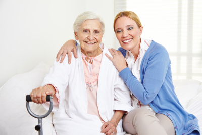 woman and senior woman sitting