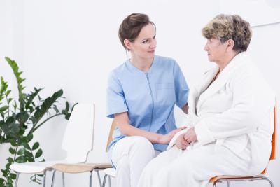 woman and senior woman talking
